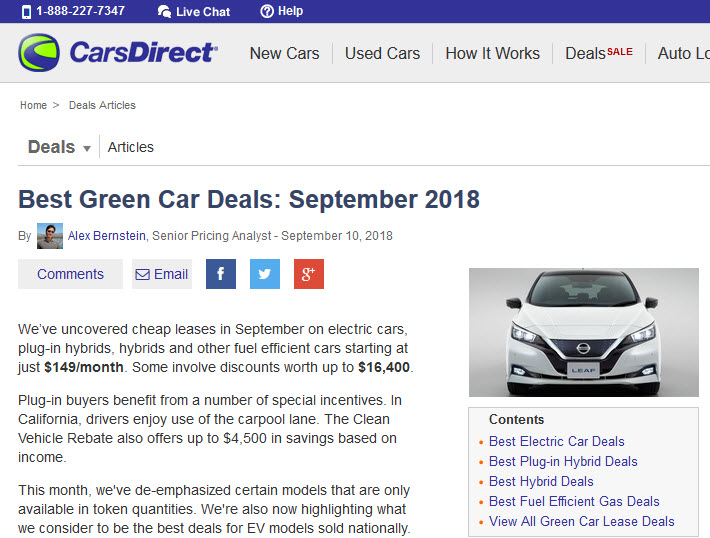 Carsdirect Best Green Car Deals Speaks For Itself Monthly Survey Of On Cars